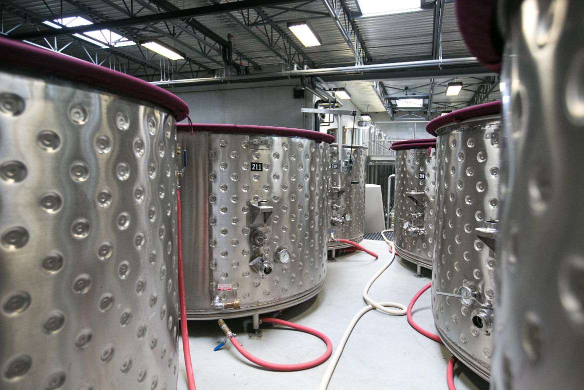 Stainless tanks for wine crush