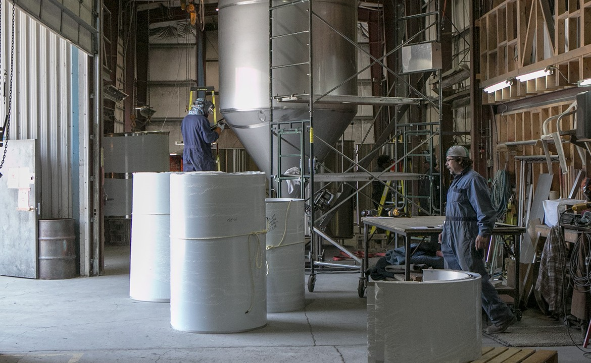 Distillery tanks being manufactured in Summerland